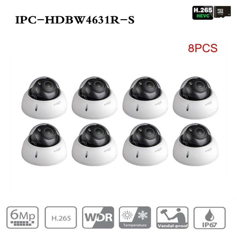 ahua Security IP Camera IPC-HDBW4631R-S 8Pcs/lot Upgrade from IPC-HDBW4431R-S 6MP POE SD Card slot Security CCTV Camera IK10 dahua h 265 ip camera ipc hdbw4631r s replace ipc hdbw4431r s 6mp poe cctv camera 30m ir 1080p network camera onvif sd card slot