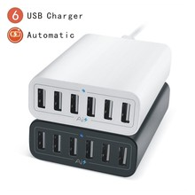 Universal Desktop Charger Adapter 60W 5V12A 6 Ports Multil USB Travel Home Wall Chargers HUB Charging EU AC Power Socket For Pad