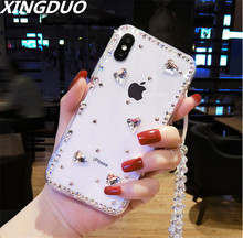 XINGDUO 3D Luxury Bling Crystal Rhinestone Cases For iphone X XS XR MAX 5 5S 6 6S 7 8 Plus love Diamond Transparent shell