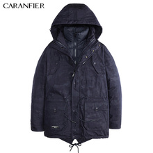 CARANFIER Men Winter Casual Parka Liner Detachable Camoflage Thick Jacket Warm Windproof Male Slim Soft Two Way Outerwear  M~3XL