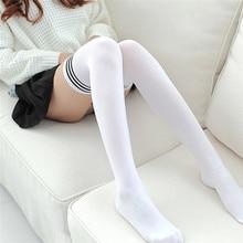 37a85a1efb7bfb Sexy Medias moda w paski podkolanówki damskie bawełniane uda wysokie po  kolana pończochy damskie ciepłe długie