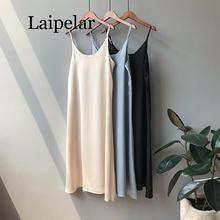 Laipelar Spring 2019 Woman Tank Dress Casual Satin Sexy Camisole Elastic Female Home Beach Dresses