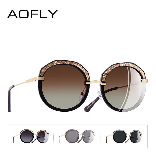 AOFLY BRAND DESIGN New Fashion Round Sunglasses Shining Frame Polarized Sunglasses Women Goggles UV400 A127 3