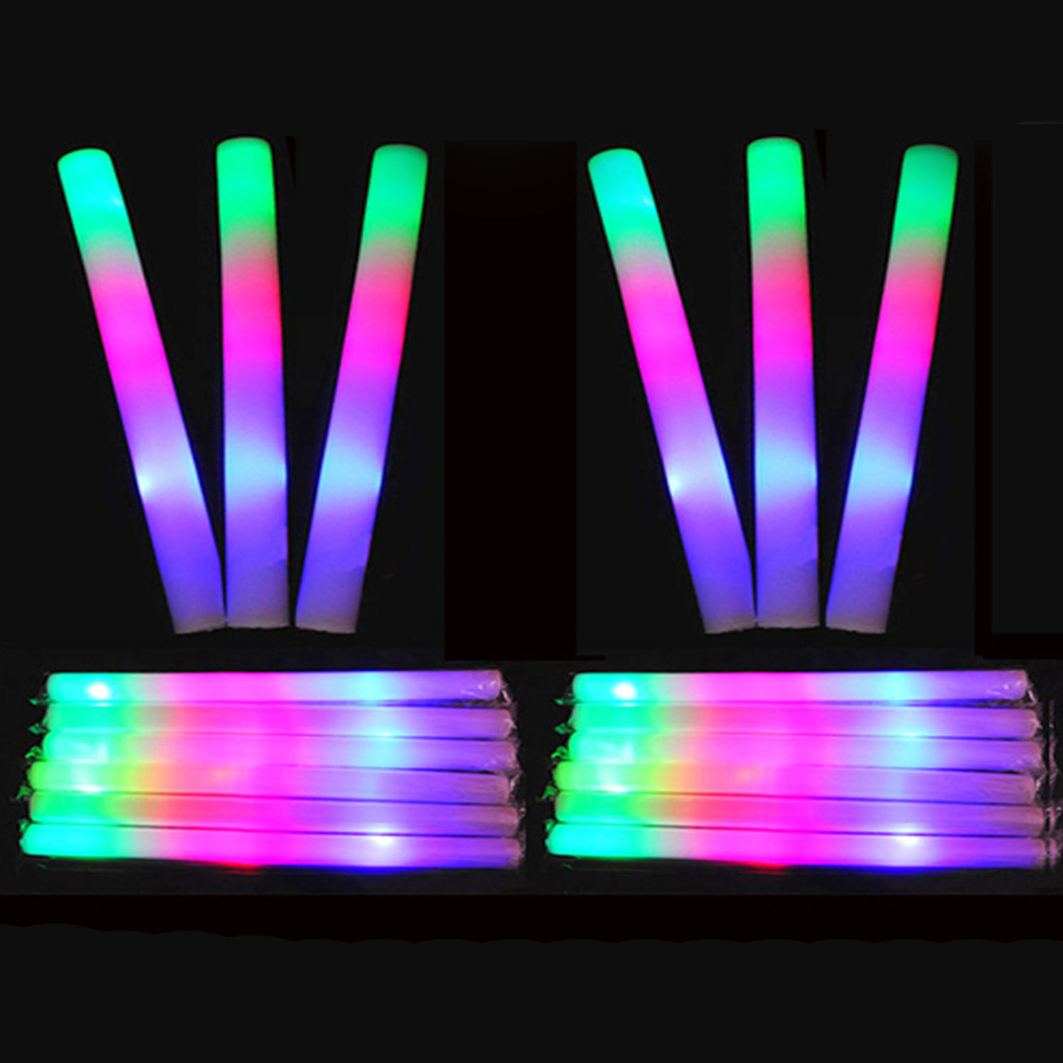 Led Glow Sticks Us 10 33 30 Off Behogar 24 Pcs Led Colorful Concert Party Club Cheer Sponge Glowsticks Glow Sticks For Concert Christmas Party Accessories In Glow