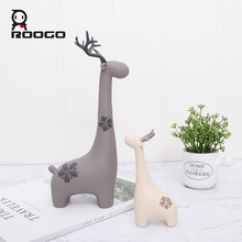 Roogo Deer Family Home Decor Cute Garden Decoration Resin Ornaments For Living Room Creative Animal Decorative Figurines