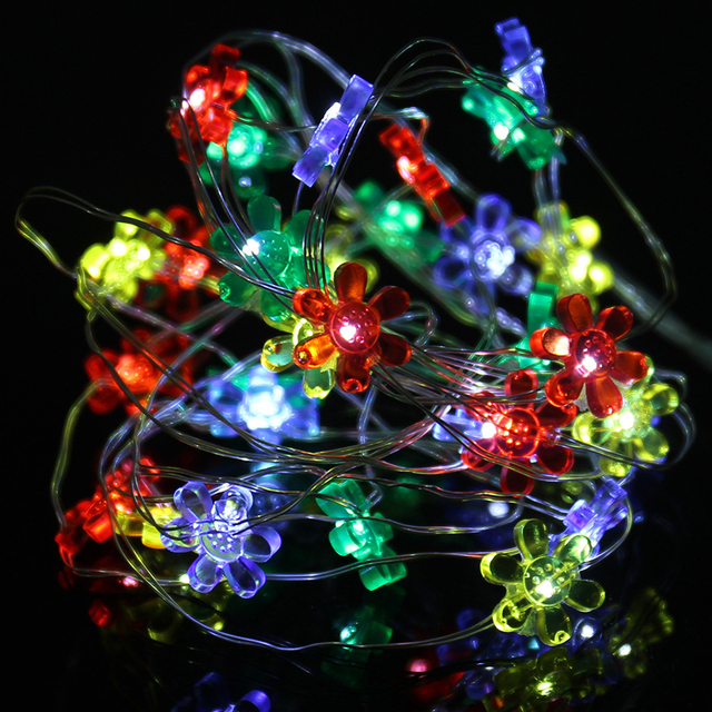 3m 30led christmas flower led string light garden decoration rainbow color wedding party light chain button