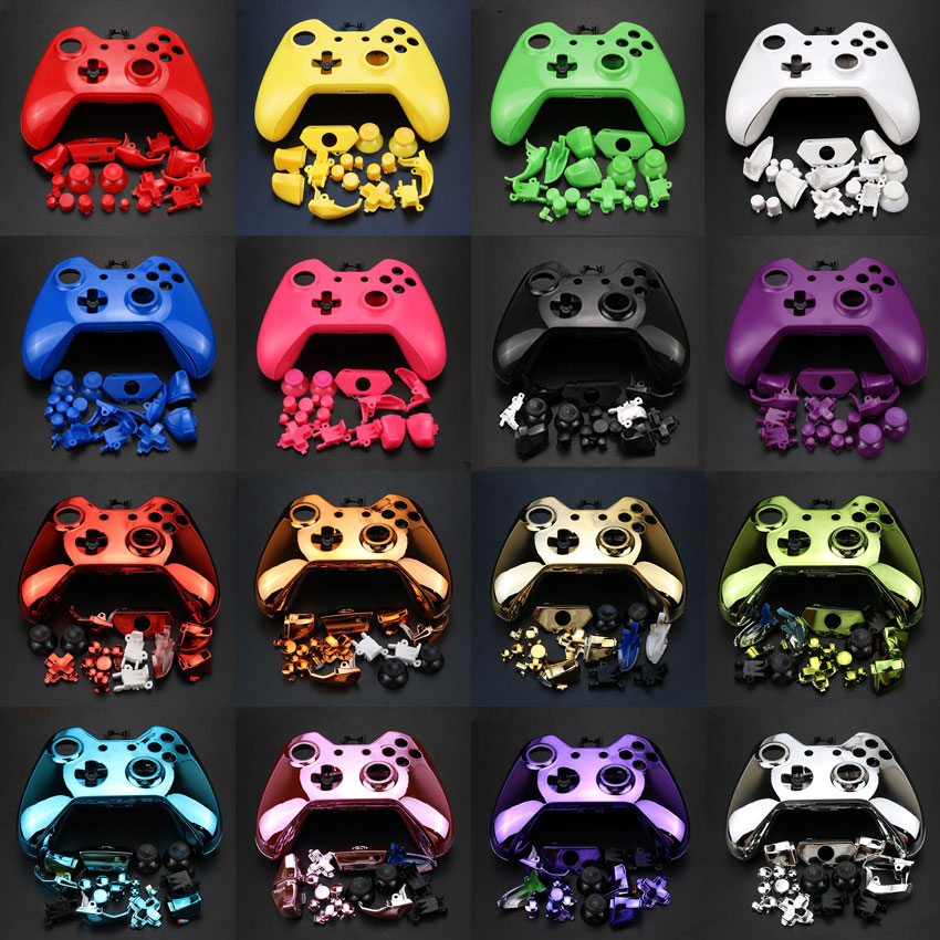 YuXi For Xbox One Replacement Chrome Full Shell And Buttons Mod Kit Matte Controller Custom Cover Housing