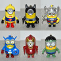6Pcs/Lot Minions superheroes figure super heroes keychain with light and sound superman batman Thor Captain  Iron man hulk