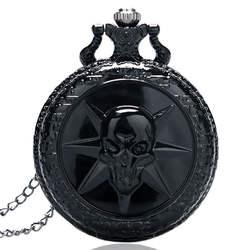 Полный черный Cross Fire Череп Дизайнер карман Часы Для Мужчин's стимпанк Повседневное брелок часы кулон подарок