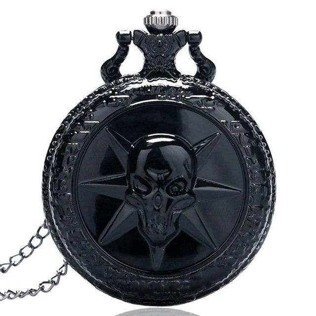 Full Black Cross Fire Skull Designer Pocket Watches Men's Steampunk Casual Fob C