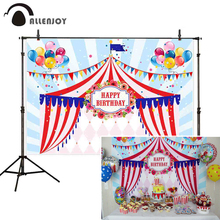 Allenjoy photocall backdrop circus party birthday colorful balloons banner baby children celebrate photography photo background цена в Москве и Питере