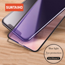 Suntaiho 9H Anti Purple Blue Ray Tempered Glass for iPhone XS MAX XR Eye-Protective Full Curved Screen Protector for iPhone 7 8P