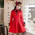 Princesa doce lolita vestido vermelho Doce chuva Arco decoração A-line gola bola top estilo europeu de design Japonês C16CD6196