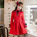 Princess sweet lolita red dress Candy rain Bow decoration A-line Stand collar ball top european style Japanese design C16CD6196