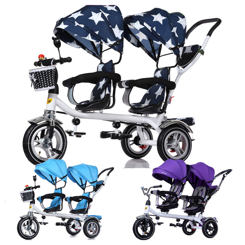 Baby Twin Tricycle Stroller 3 Wheels Double Stroller for Kids Twins Guardrail Seat Baby Toddler Bicycle Car Tricycle Child Pram high quality carbon steel frame twins tricycle 3 air inflatable rubber wheel double seat tricycle with rotation seat