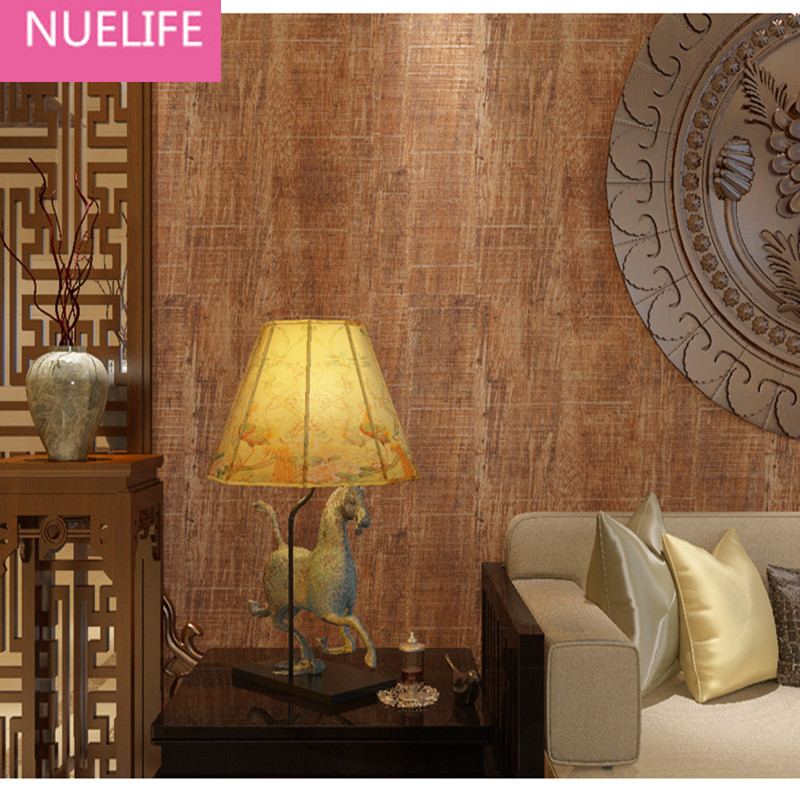0.53x10m Retro Chinese Style Wooden Sandstone Pattern Wallpaper Bedroom Living Room Cafe Shop Wedding Room Study room Wallpaper