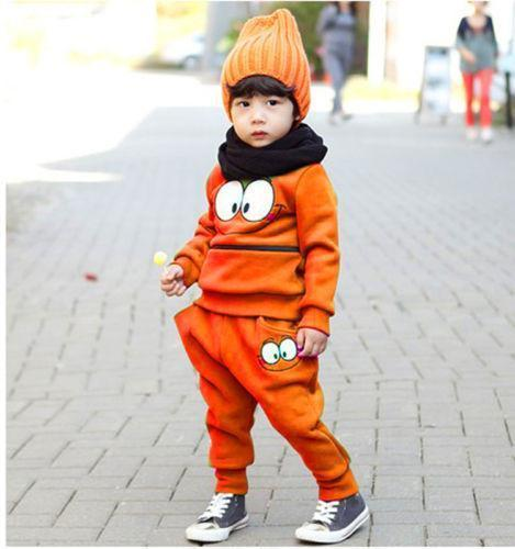 Baby Boys Girls Sports Wear Tracksuit Outfit Smiling Face Unisex Kid Suit For Spring & Autumn
