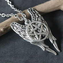 Supernatural Necklaces Evil Force Pentagram Pendant Necklace Antique Silver Pentacle Angel Wings Charms