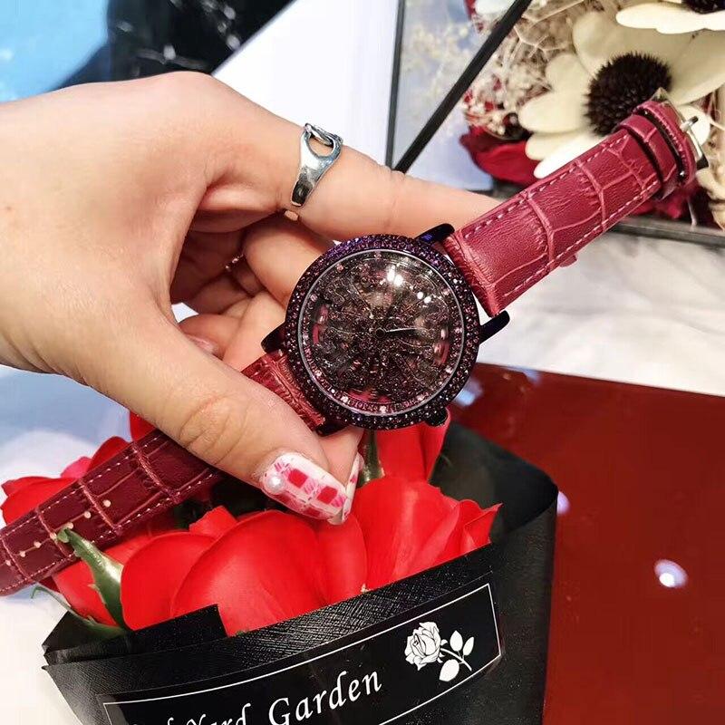 Luxury Style Fashion Women Watch Lady Shining Rotation Dress watch Rhinestone Wristwatches Genuine Leather Watches relojes бра 0936 mantra