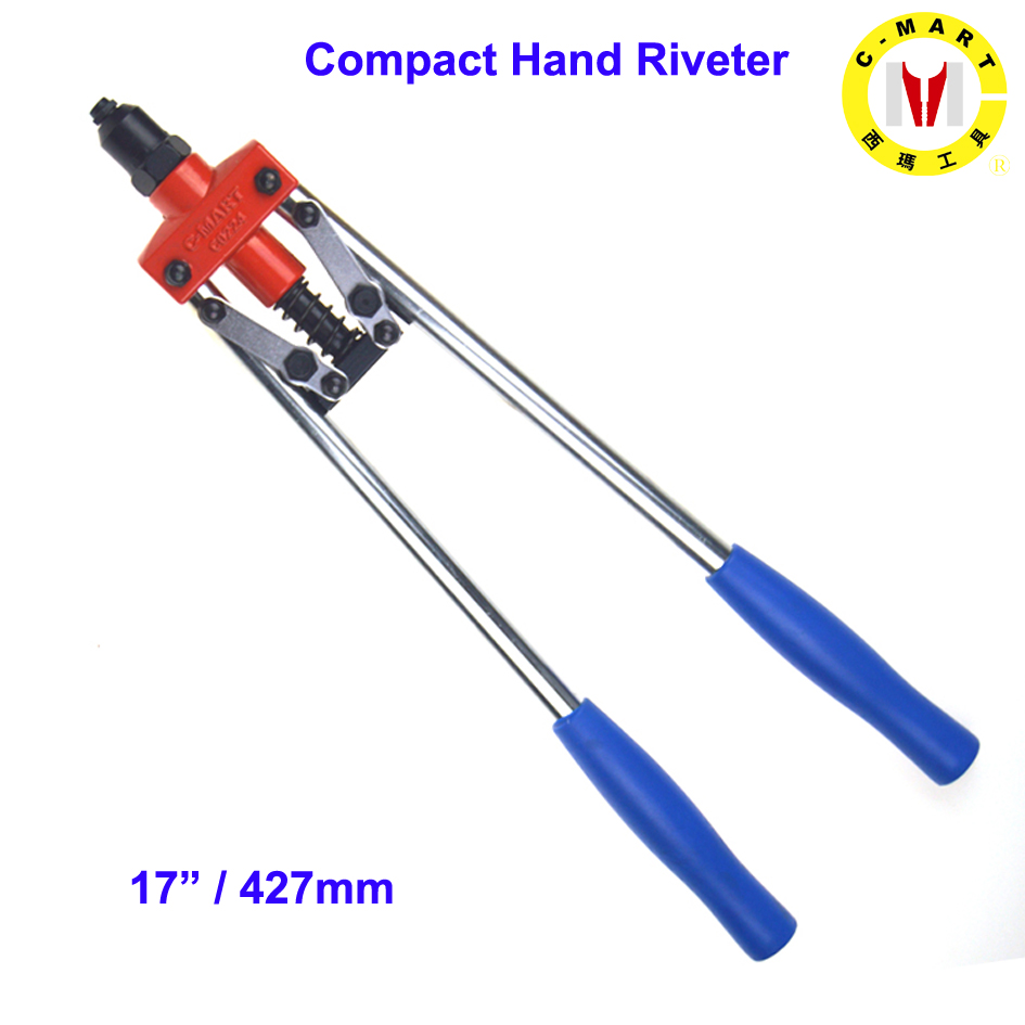 C-mart Hand 17 Inch Tools Compact Hand Riveter  Rivet 3.2 4.0 4.8 Aluminium And Stainless Steel Rivets C0224