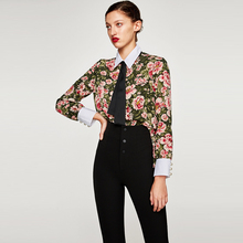 Women Vintage Floral Pattern Shirts Cute Bow Tie Neck Side Split Long Sleeve Blouses Retro Casual Tops JZ128