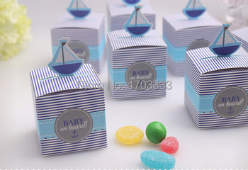 """New 2015 Blue """"Baby On Board"""" Pop-Up Sailboat baby shower favor boxes gift candy box with Free Shipping #AJ83"""
