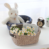 ROSEHOME 32 19 12cm Cotton Handmade Woven Storage Basket Navy Laundry Basket Portable Cosmetics Clothes Toys