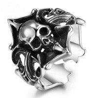 Solid 925 Silver Skull Ring, Sterling Silver Adjustable Open Ring