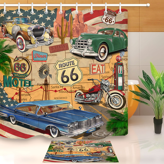 LB Retro Trip Car Motorcycle Historic Shower Curtain Route 66 Liner And Bath Mat Set Bathroom