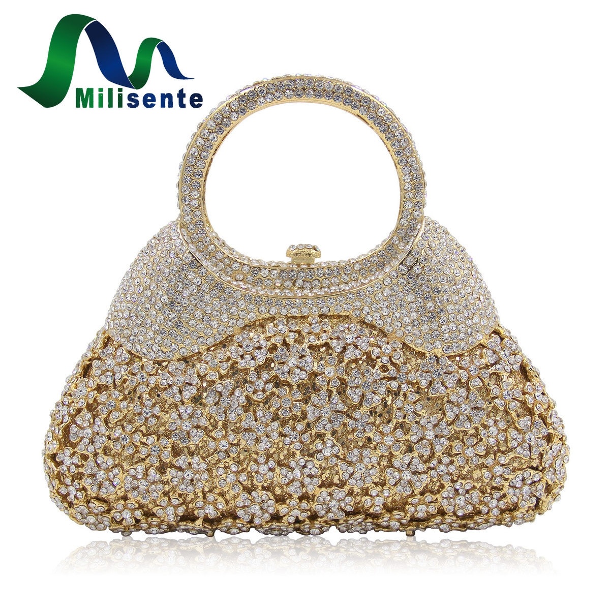 Milisente Luxury Flower Crystal Evening Bags Special Design Handbag Girl's Party Purse Wedding Clutch Shoulder With Chain Gold milisente 2016 hot sale handbag luxury crystal evening bags special design for party gold