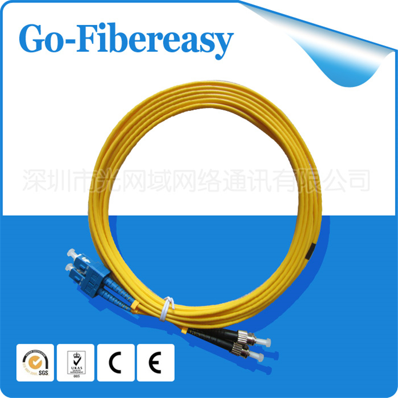 5pieces/lot Fiber Optic Patch Cord SC/UPC to ST/UPC Duplex Fiber,SM,PVC,5 Meter,