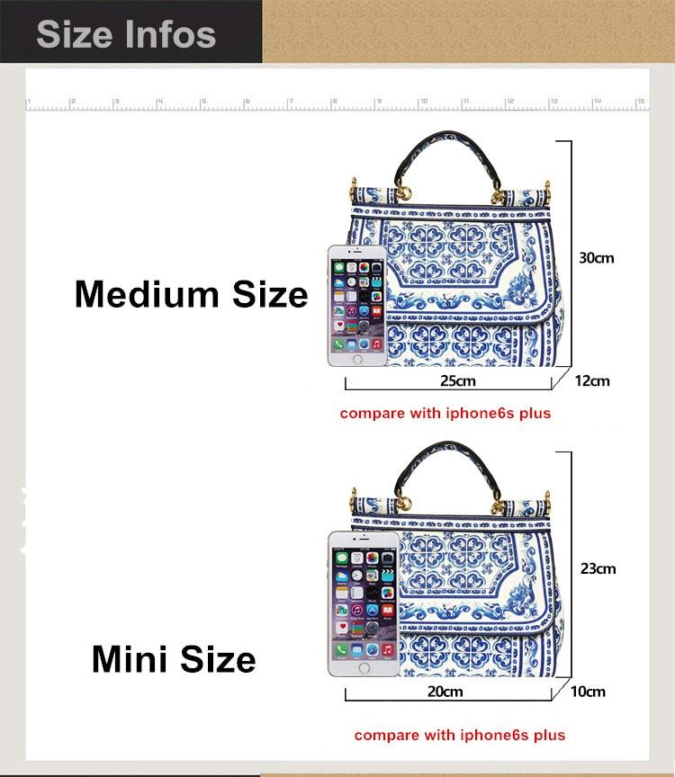 3a790e66ef 2018 Famous Branded Designer Handbag leather Miss Sicily  Floral Majolica  Tile Print Satchel Bag Blue