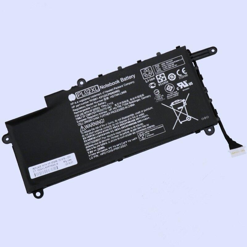 Batterie originale de rechange pour ordinateur portable Li-ion PL02XL HSTNN-LB6B DB6B 751681-231 pour HP pavillon 11X360 TPN-C115 29WH 3720 MAH 7.6 V