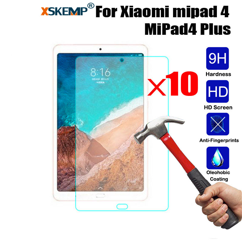 10Pcs Wholesale Premium Tempered Glass Tablet Screen Protector For Xiaomi mipad 4 MiPad4 Plus Explosion proof Shield Film