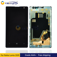 100 Tested LCD Screen Touch Digitizer Assembly For Nokia Lumia 1020 With Frame Black Lcd Display