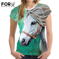 FORUDESIGNS 3D Crazy Horse Women Casual T Shirt For Girls Summer Female Shirt Short Sleeved Ladies