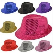 Мода для взрослых/детей унисекс блестящая шляпа с пайетками танцевальное шоу вечерние шляпа для джаза шоу реквизит для сцены Бисероплетение кепки s Fedoras