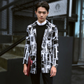 2016 autumn new woolen coat long section of male fashion plaid woolen coat jacket XL tide