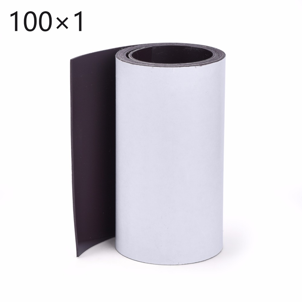 1Meters self Adhesive Flexible Magnetic Strip 1M Rubber Magnet Tape width 100mm thickness 1mm Free Shipping 5pcs magnet sheet a4 thickness 1mm rubber magnetic strip tape flexible magnet diy craft tape