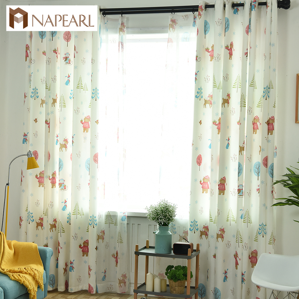 US $6.26 52% OFF NAPEARL Christmas Bear Curtains Cartoon High Shading Drops  For Child Bedroom Windows All Match Tulle Drapery Elegant Panel Tree-in ...