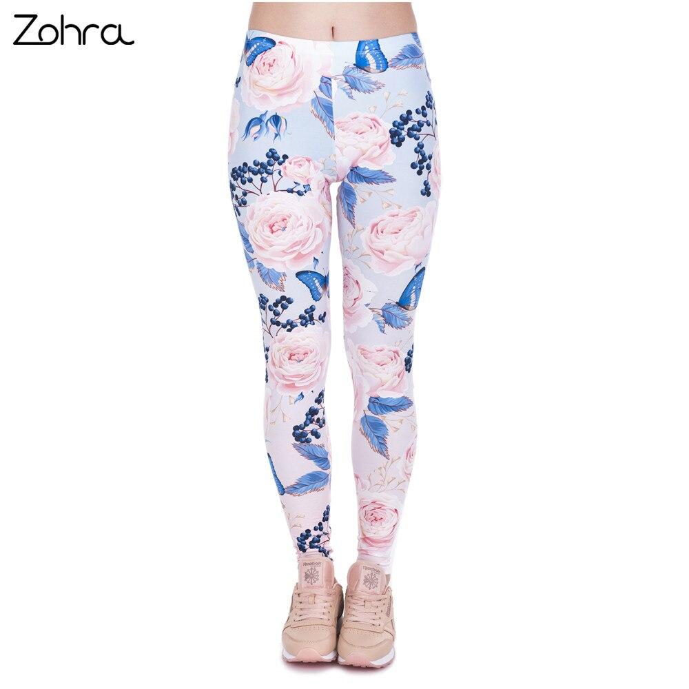Zohra Neue Design Frauen Legins Rosen Mit Schmetterling Druck Elegante Legging Frau Licht Rosa Hohe Taille Leggings