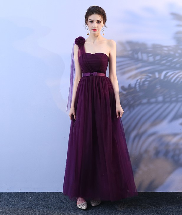 Grape Purple Colour Bridesmaid Dresses Wedding Party Dress  Sexy Dress  Sleeveless  One Shoulder