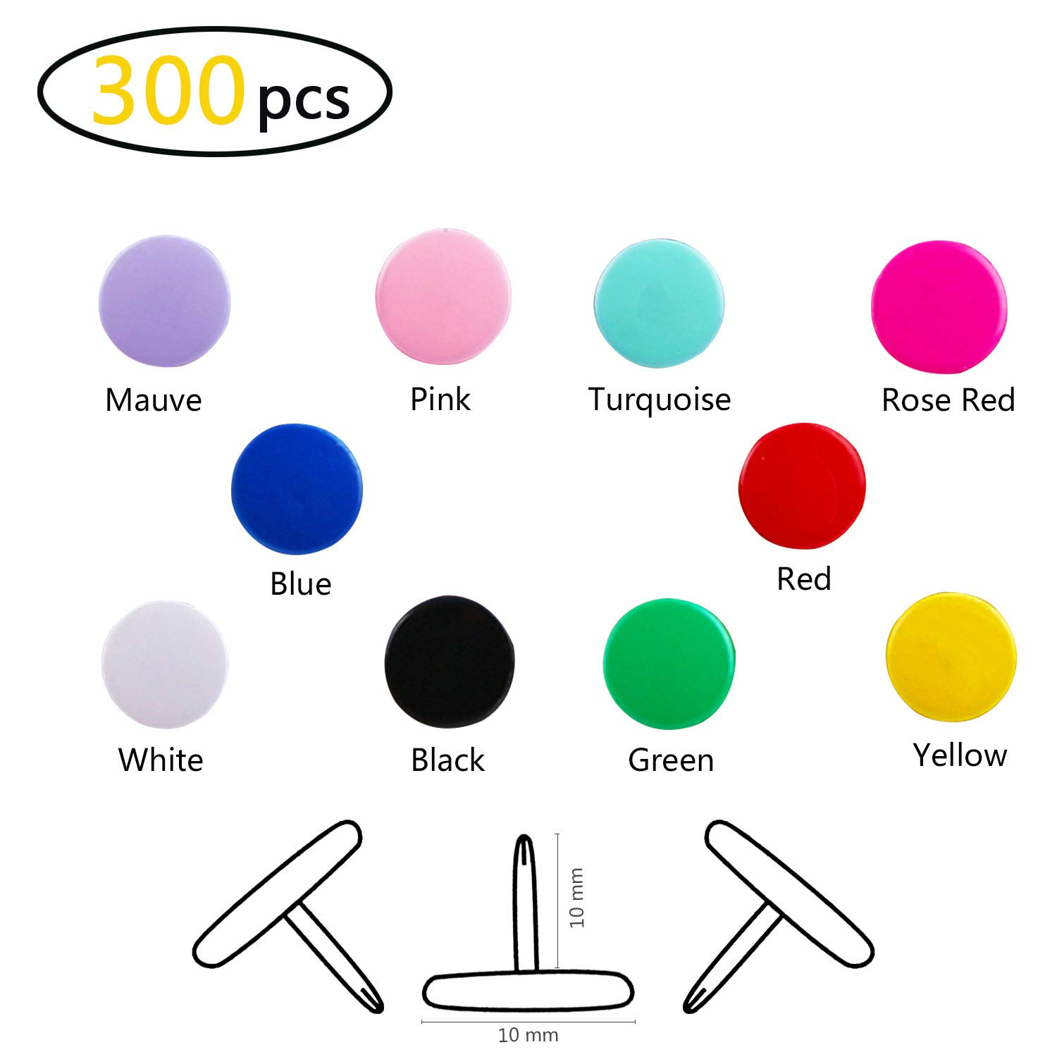 Map Thumb Tacks Office Push Pins Round Plastic Head Drawing Pins For Cork Board Notice Board, 300 Pcs