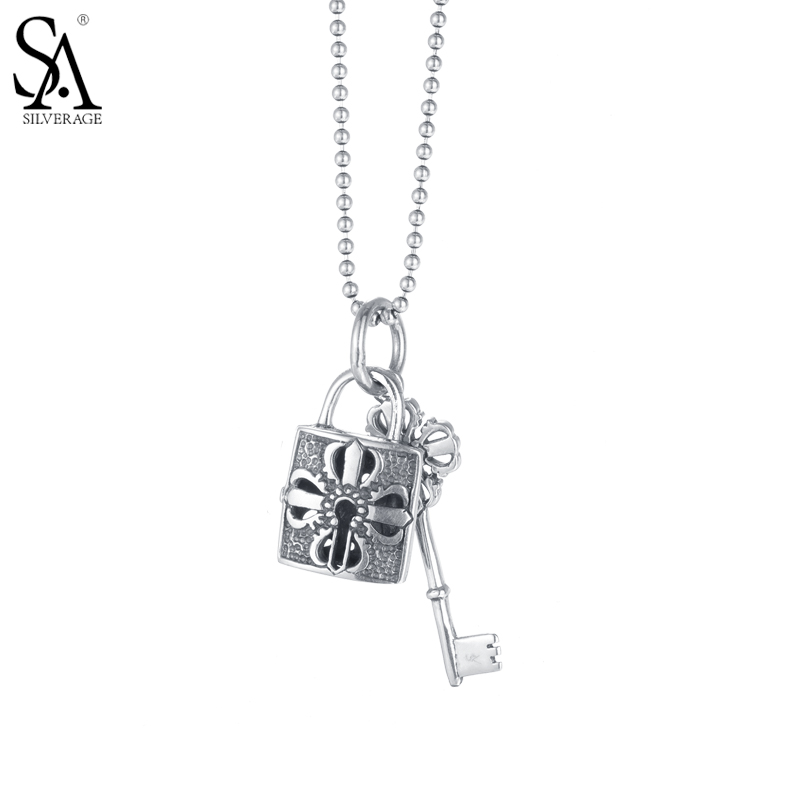 SA SILVERAGE 925 Sterling Silver Long Vintage Necklaces Pendants For Women Key And Lock Shape Girl Gift Party Lady Fine Jewelry sa silverage real 925 sterling silver crystal key necklaces pendants for women silver chain pendant necklaces wedding gifts