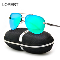 LOPERT Retro Aviator HD Polarized Sunglasses Men Women Driving HD Glasses Brand Designer Male Sun Glasses
