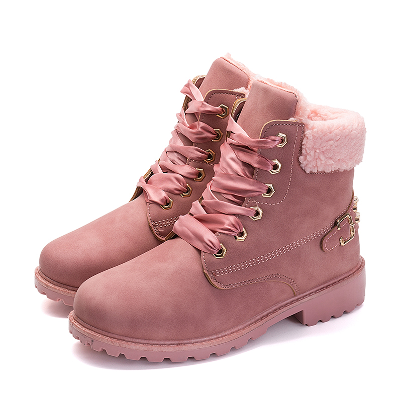 LEMAI New Pink Women Boots Lace up Solid Casual Ankle Boots Martin Shoes jenni new pink solid ruffled chemise l $39 5 dbfl
