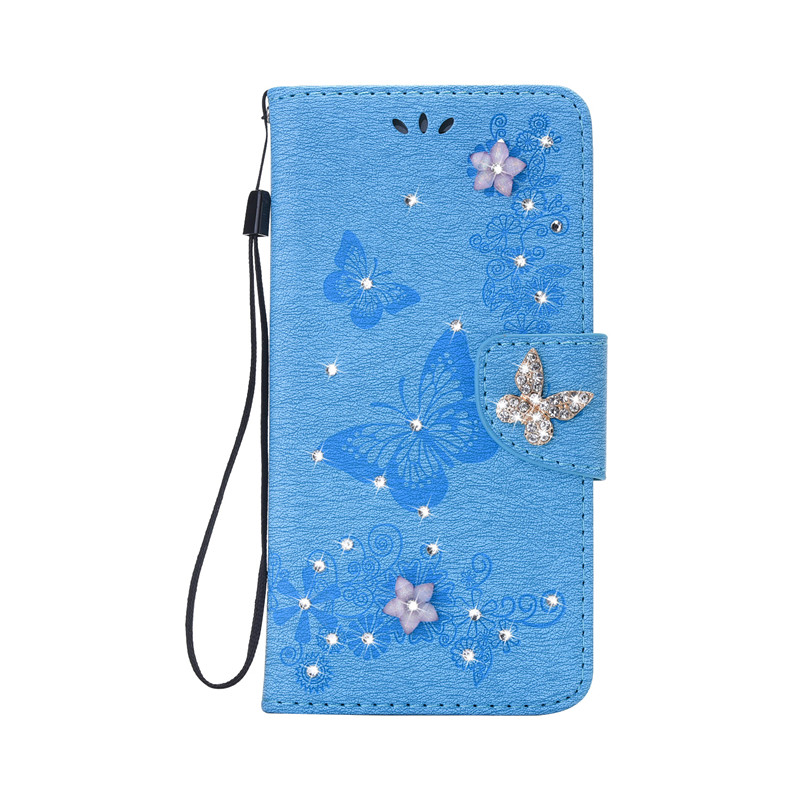 for iPhone 7 Plus/iPhone 8 Plus Bling Diamond Cover Case PU Leather Embossed Flip Wallet Phone Case for iPhone 7 Plusi/8 Plus