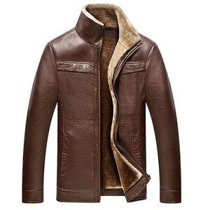 Image 1 - Inverno Caldo di Spessore Uomini Cappotto di pelliccia collare Giubbotti e cappotti marchio di abbigliamento jaqueta masculino inverno della tuta sportiva di cuoio Giubbotti parka