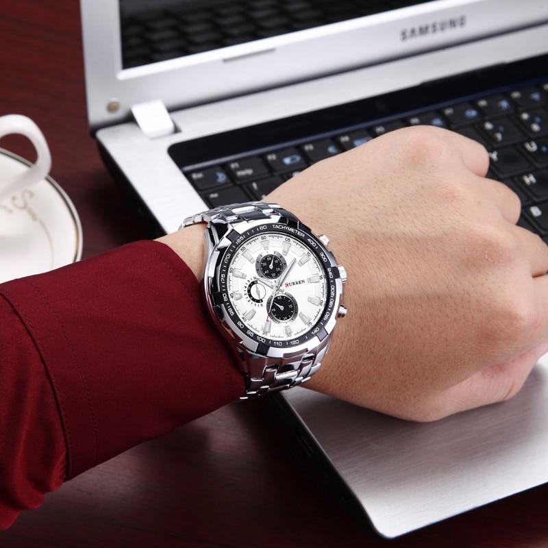 2018 Top Brand Luxury pełny stalowy zegarek Mężczyźni Business - Męskie zegarki - Zdjęcie 3