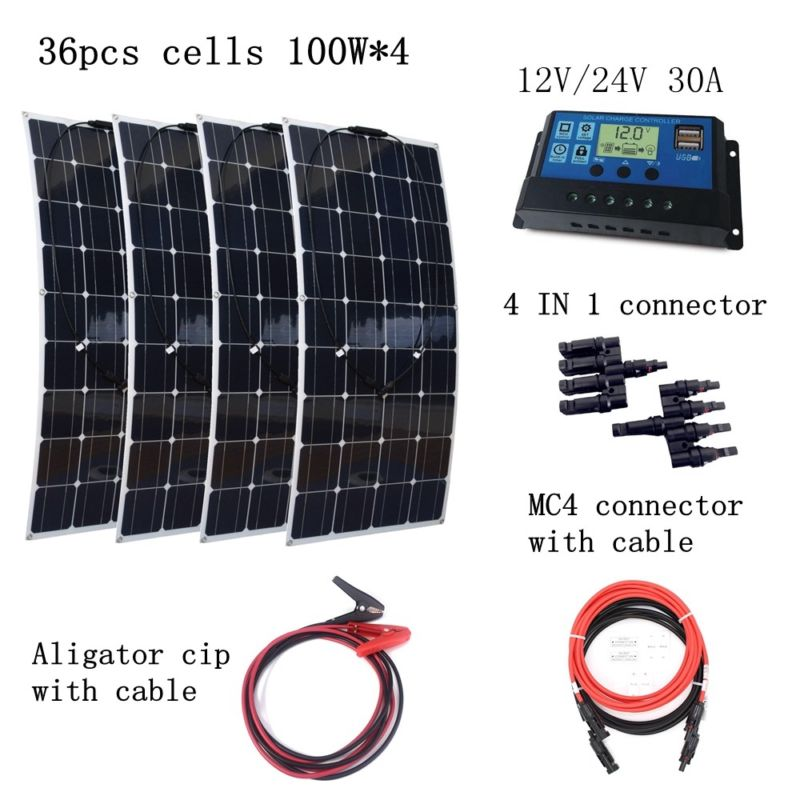 4pcs 100W Flexible Solar Panels Modules with 30A Controller and Extended Cables 400W House-use Solar Power System